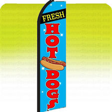 Feather Swooper Flutter Banner Sign 11.5' Tall Flag - Hot Dogs bz