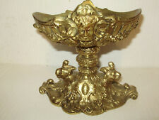 ANTIQUE SPANISH REVIVAL BRASS DISH  HORNED DEVIL FACE AND LIONS ORNATE & HEAVY