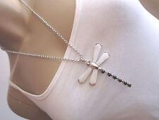 Modekette Modeschmuck Damen Hals Kette lang Silber Schwarz Weiß Libelle Perlmutt