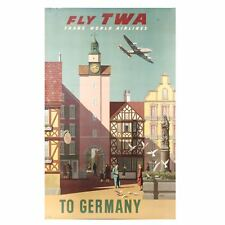 Vintage Original TWA Germany German Travel Poster Trans World Airlines