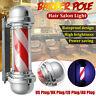 "22"" 57cm LED Barber Shop Pole Red White Rotating Light Stripes Hair Salon"