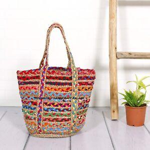 Indian Braided Jute Cotton Shoulder Bag Bohemian Handmade Women Hand Bag Large