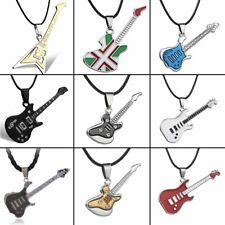 New Punk Stainless Steel Guitar Bass Shape Pendant Necklace Jewelry Singer Lover