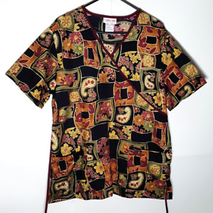 Paisley Floral Scrub Top by Cherokee   Red & Amber Flowers   Womens Large