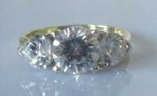 Gold CZ Ring - 9ct Yellow Gold Cubic Zirconia 3 Stone Ring Size M