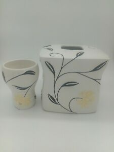 Ceramic Tissue Box Cover and Cup White with beige Floral Flower black stems 3D