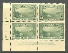 Canada #244, 1938 50c Vancouver Harbor Entrance, Control No. Ll Pb4 Unused Nh