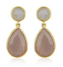 Moonstone Rose Chalcedony Gemstone 925 Silver Teardrop Earrings Jewelry