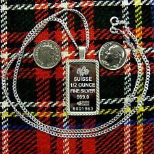 New Sterling Silver lady luck bullion pendant with 1/2oz fine silver bar & chain