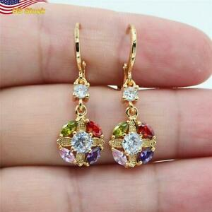 Fashion 925 Silver Plated Drop Earrings for Women Colorful zircon Gift 1 Pair