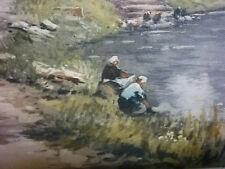 Original etching Maurice Lewis 1860-1940 French, Washerwomen on the River c1915