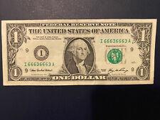 Fancy Serial Number $1 Dollar Bill  I 66636663 Circulated 2006