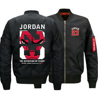 NEW Men's Thick Jacket Michael Jordan 23 MA1 Flight Bomber Coat Baseball Outwear