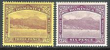 Dominica 1908 purple on yellow 3d dull/bright-purple 6d mint SG51/52