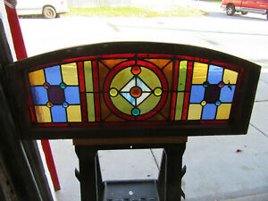 ~ ANTIQUE STAINED GLASS TRANSOM WINDOW 13 JEWELS ~ 43.25 X 17.5 ~ SALVAGE