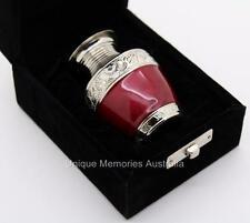 "3"" Solid Brass Keepsake Ruby Red Cremation Memorial Funeral Urn + Velvet Case"