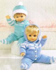 "Knitting Pattern 12-22"" Baby Doll Boy & Girl DK Cardigan Dungarees Socks 2 Hats"