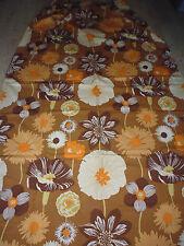 ancien tissu textile rideau ameublement Boussac grosse fleur orange vintage 70