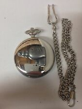 Drill Tool Emblem on polished silver case pocket watch