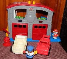 Fisher Price Little People Fun Sounds Rescue Fire Station Lights Ambulance+Truck
