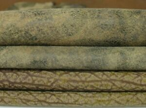 pack olive green textured vintage look lambskin leather 2skins 14sqf 0.9mm A7307