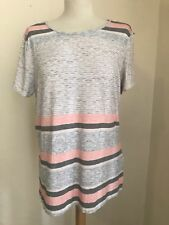Womens Dorothy Perkins T shirt Top size 18 plus size grey pink stripe pattern