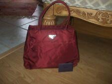 Aurhentic Prada burgundy red Amaranto nylon tote shoulder bag shopper purse #17