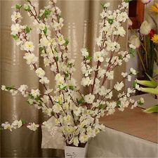 5Pcs 50''Artificial Cherry White Plum Peach Blossom Branch Silk Flowers UK