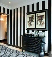 WALL PAPER WALLPAPER 10m ROLL Modern Black white Beige Latte Stripes Shop Bar