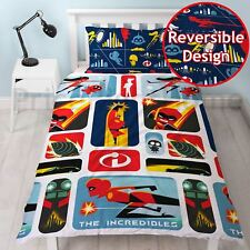 Incredibles 2 Rétro Set Housse de couette simple NEUF