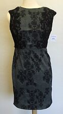 Adrianna Papell Cap Sleeve Black Lace Applique Dress Size 4 Nd1