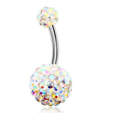 14G Surgical Steel Belly Button Ring Women Screw Navel Bars CZ Piercing Jewelry
