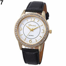 Ladies Fashion Geneva Quartz Gold Tone Rhinestone Leather Band Wrist Watch.