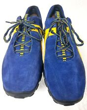 Ecco Suede w/ Leather Men's Low Top Casual Shoes Blue & Yellow US 9 EURO 39 GUC