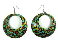 CocoPainted Painted Coconut Shell Hook Drop/Dangle Earrings Handmade - Large