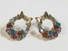 HM818...GOLD PLATED EARRINGS - COLOURED RHINESTONES - FREE UK P&P