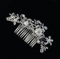 Crystal Flower Pearls Slide Grip Wedding Hair Pins Bridal Clips Accessories
