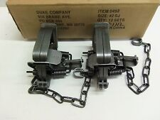 2  Duke # 2 Square Jaw Coil Spring Trap Raccoon Coyote Bobcat Fox Lynx 0492