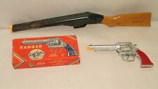 % 1950'S DAISY CORK GUN DOUBLE BARREL CORK GUN 22 INCHES LONG W/ KILGORE RANGER