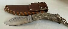 Crown Antler Handle Steel Hunting Knife Skinner W/ Leather Sheath&Strap Handmade
