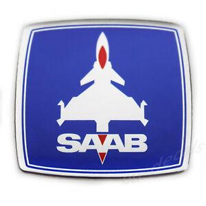 SAAB Jet Blue Chrome Red Square Custom Badge Emblem 3D decal 93 aero XC90 900