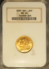 1930 Switzerland Gold Twenty Franc (20 F), NGC MS 64 Old Holder