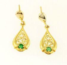 9Carat Yellow Gold Emerald Celtic Drop Stud Earrings (7x13mm)