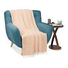 Relaxdays Couvre-lit Plaid Couverture en coton Canapé lit Jeté de 100 avec mot