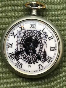 Vintage Antique Memento Mori Skull OMEGA Digital Second Pocket Watch