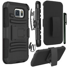 Rugged Hybrid Armor Stand Case Belt Clip Holster Samsung Galaxy S6 G920 BK+PEN+C