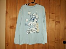 Cat & Jack Kids Blue Shirt w Abominable Snowman Size 6/7 new w Tags