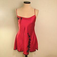 Victoria's Secret Large Chemise Gown Red Satin Black Lace Slit Deep Cut Tie Back