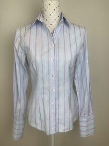 FARAGE Size 12 Shirt Blue French Cuff Collared Long Sleeve Cotton Italian Fabric