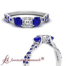 1 Ctw Asscher Cut Diamond And Sapphire Gemstone Trellis Twisted Engagement Ring